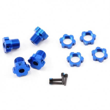 Hexagones alu 17mm bleu (x4) Traxxas 5353X
