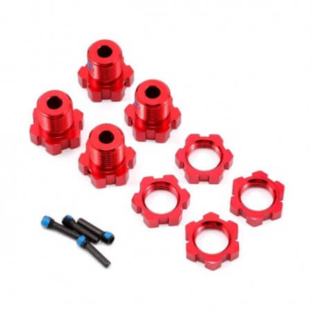 Hexagones alu 17mm Rouge (x4) Traxxas 5353R