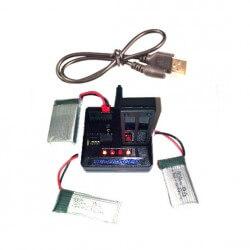 Chargeur USB pour 4 batteries Hubsan, T2M, Syma...