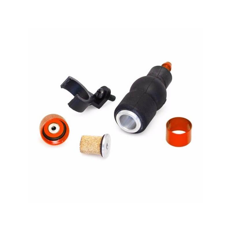 Hobbytech filtre é carburant alu rouge avec pompe d'amoréage + support -HT-51759R