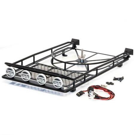 Hobbytech Galerie de toit acier 250X150X45mm avec SPOT Led AV/ARR.et support de roue HT-SU1801086