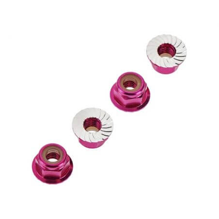 TRAXXAS ecrous nylstop epaules 4mm anodises rose (4) TRX1747P