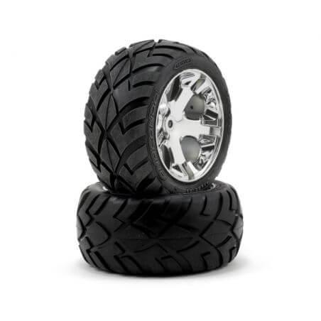 TRAXXAS roues arriere montees collees anaconda jantes chrome electrique (2) TRX3773
