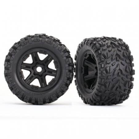 TRAXXAS roues montees collees noires talon ext 17mm (2) TRX8672