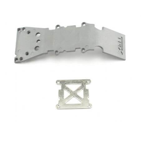 TRAXXAS plaque de protection plastique grise + plaque acier TRX4937A