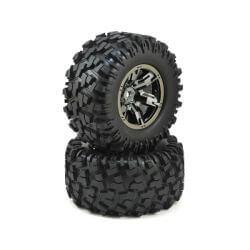 TRAXXAS roues montees collees x-maxx chromee noires (2) TRX7772A