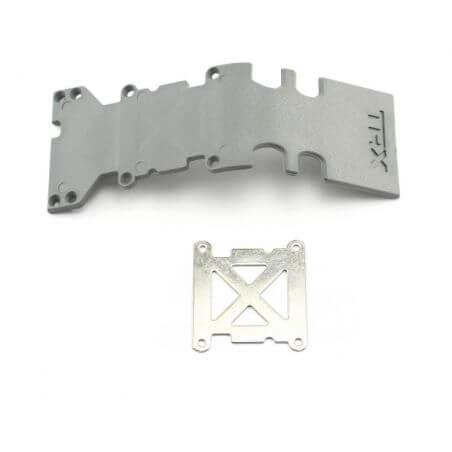 TRAXXAS plaque de protection arriere plastique grise + plaque acier TRX4938A