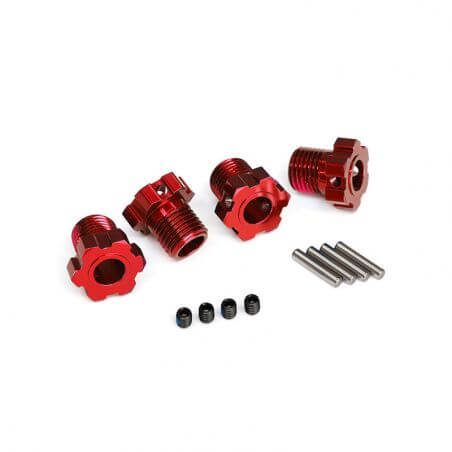 TRAXXAS hexagones de roues anodises rouge 17mm (4) TRX8654R