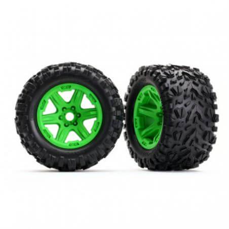 TRAXXAS roues montees collees vertes talon ext 17mm (2) TRX8672G