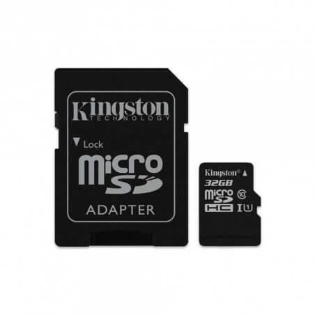 Carte MicroSDHC 32GO Kingston CL10 UHS-I avec adaptateur