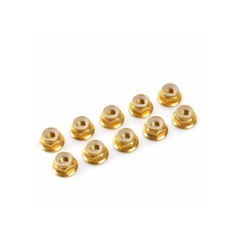 """GF-0401-030 écrous nylstop nut M3 """"GOLD"""",aluminium (10pcs)"""