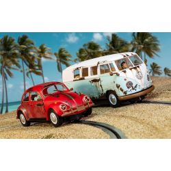 Scalextric C3966A Legends Rusty Rides Volkswagen Beetle & T1B Camper Van - Limited Edition