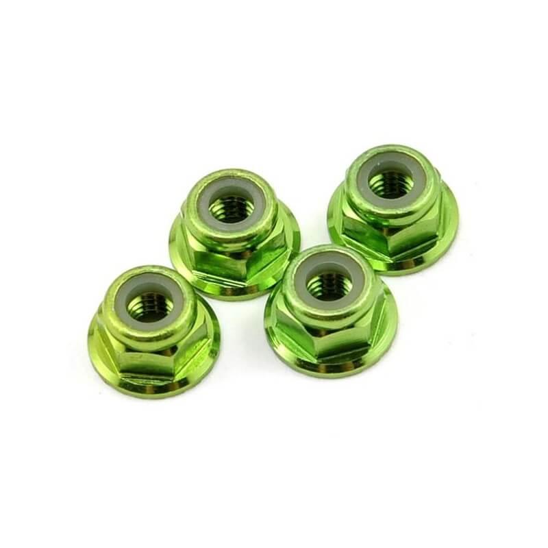 Ecrou aluminium anodisé vert (4mm) (x4) - Traxxas TRX 1747G