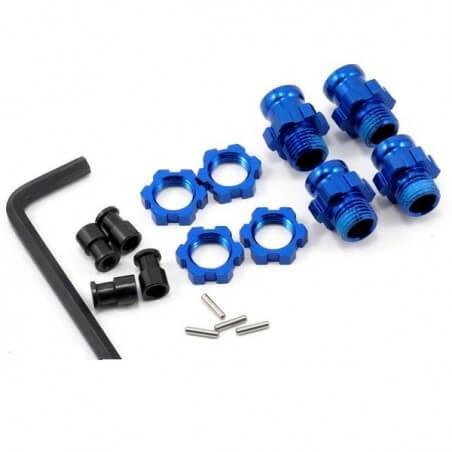 Traxxas 5853X - Hexagones de roues alu (2courts/2longs) + ecrous de roues bleus