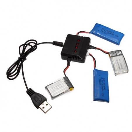 Chargeur 4 batteries pour Drones, Hubsan, Syma, T2M...