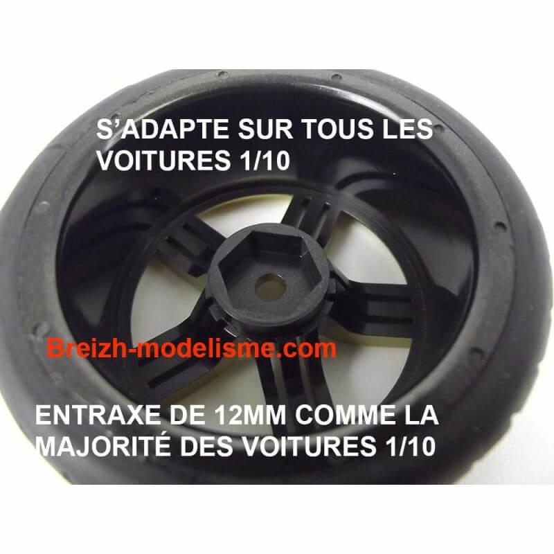 4 roues AV/ARR slick chrome 1/10 Absima 2510013