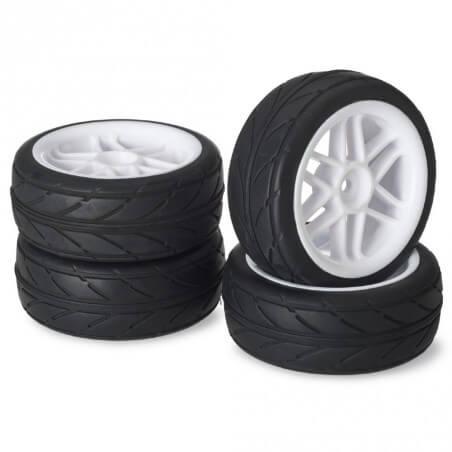 """4 roues AV/ARR Piste """"6 battons/Profile"""" blanc 1/10"""