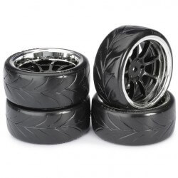4 roues Drift AV/ARR chrome 1/10 Absima 2510044