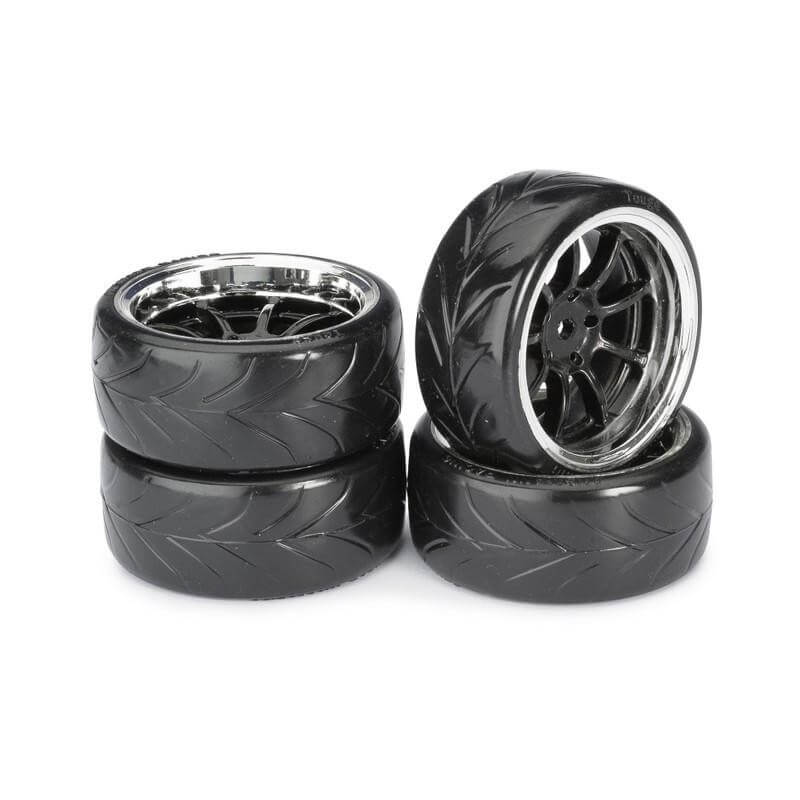 4 roues Drift AV/ARR chrome 1/10 Absima 2510044