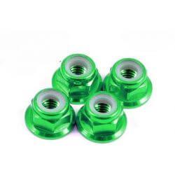 4 Ecrous de roue 1/10 et 1/12éme M4 vert