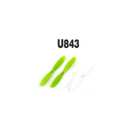 Hélices Blanche et Verte pour drone UDI U843