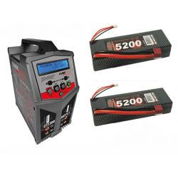 Combo BZHModelisme - Chargeur DUO + 2 Accus Lipo 7,4V 5200 mAh