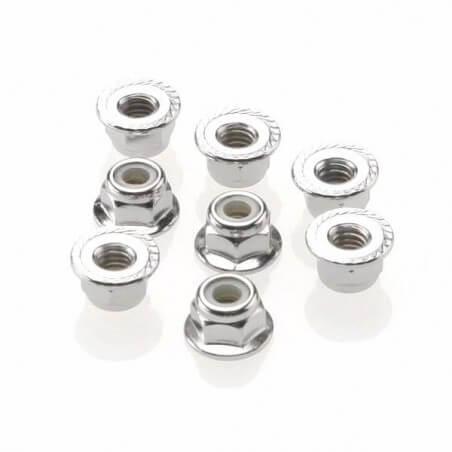 écrous nylstop acier epaules 4mm (8) - Traxxas 3647