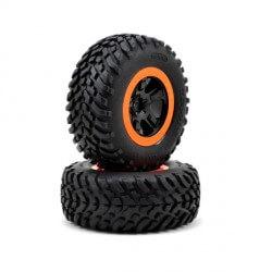 Traxxas Pneus + Jantes SCT Noir / Orange (x2) Traxxas 5863R