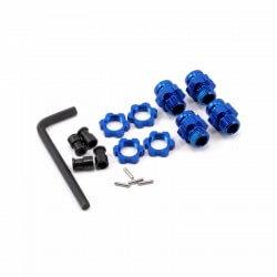 Hexagones de roues alu courts bleu + écrous de roues bleu x4 Traxxas 6856X