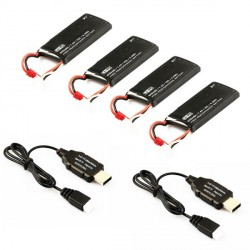 Pack: 4 Accu lipo + 2 Chargeurs USB) Hubsan H502S - H502E