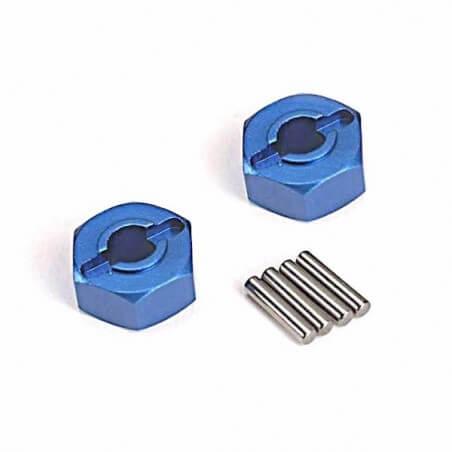 Hexagones de roues ALU Bleue + goupilles x2 - Traxxas 1654X