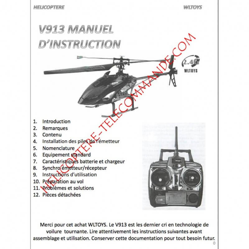 Notice compléte en Franéais du Wltoys V913 MT400 - Envoi par courrier