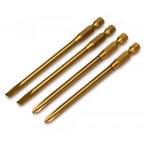 4 Embouts titanium Plat + Cruciforme pour Visseuse-dévisseuse